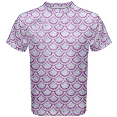 Scales2 White Marble & Purple Glitter (r) Men s Cotton Tee