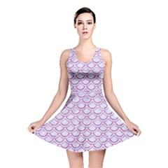 Scales2 White Marble & Purple Glitter (r) Reversible Skater Dress