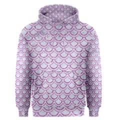 Scales2 White Marble & Purple Glitter (r) Men s Pullover Hoodie