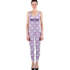 Scales2 White Marble & Purple Glitter (r) One Piece Catsuit