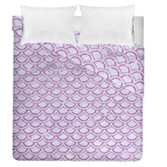 Scales2 White Marble & Purple Glitter (r) Duvet Cover Double Side (queen Size)