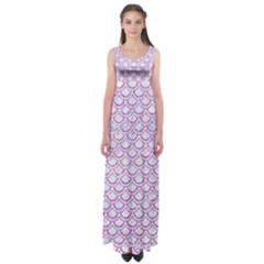 Scales2 White Marble & Purple Glitter (r) Empire Waist Maxi Dress
