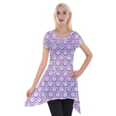 Scales2 White Marble & Purple Glitter (r) Short Sleeve Side Drop Tunic