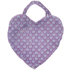 Scales2 White Marble & Purple Glitter (r) Giant Heart Shaped Tote by trendistuff