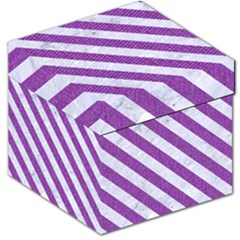 Stripes3 White Marble & Purple Denim Storage Stool 12
