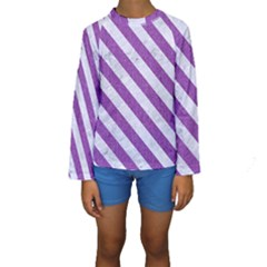 Stripes3 White Marble & Purple Denim Kids  Long Sleeve Swimwear