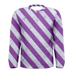 Stripes3 White Marble & Purple Denim Men s Long Sleeve Tee