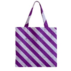 Stripes3 White Marble & Purple Denim Zipper Grocery Tote Bag