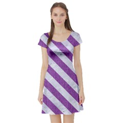 Stripes3 White Marble & Purple Denim Short Sleeve Skater Dress