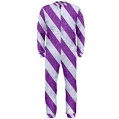 Stripes3 White Marble & Purple Denim Onepiece Jumpsuit (men)