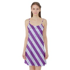 Stripes3 White Marble & Purple Denim Satin Night Slip