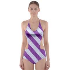 Stripes3 White Marble & Purple Denim Cut Out One Piece Swimsuit
