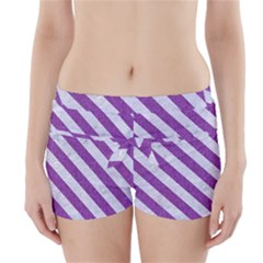 Stripes3 White Marble & Purple Denim Boyleg Bikini Wrap Bottoms