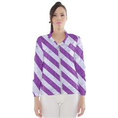 Stripes3 White Marble & Purple Denim Wind Breaker (women) by trendistuff