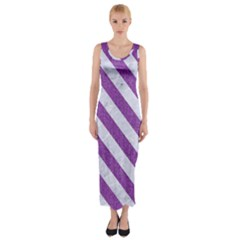 Stripes3 White Marble & Purple Denim Fitted Maxi Dress