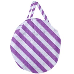 Stripes3 White Marble & Purple Denim Giant Round Zipper Tote