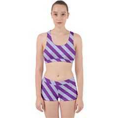 Stripes3 White Marble & Purple Denim Work It Out Gym Set