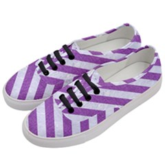 Stripes3 White Marble & Purple Denim Women s Classic Low Top Sneakers by trendistuff