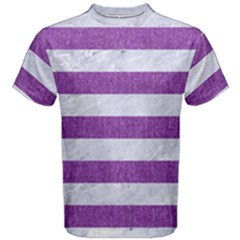 Stripes2white Marble & Purple Denim Men s Cotton Tee