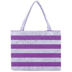 Stripes2white Marble & Purple Denim Mini Tote Bag by trendistuff
