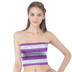 Stripes2white Marble & Purple Denim Tube Top