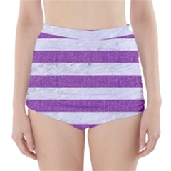 Stripes2white Marble & Purple Denim High Waisted Bikini Bottoms