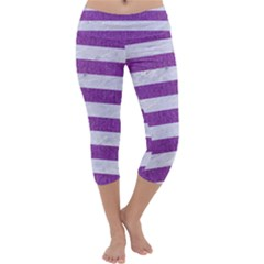 Stripes2white Marble & Purple Denim Capri Yoga Leggings