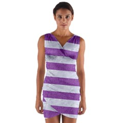 Stripes2white Marble & Purple Denim Wrap Front Bodycon Dress