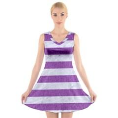 Stripes2white Marble & Purple Denim V Neck Sleeveless Dress