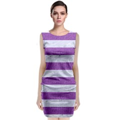 Stripes2white Marble & Purple Denim Classic Sleeveless Midi Dress
