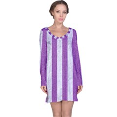 Stripes1 White Marble & Purple Denim Long Sleeve Nightdress