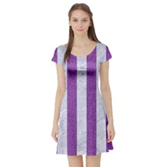 Stripes1 White Marble & Purple Denim Short Sleeve Skater Dress