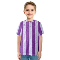 Stripes1 White Marble & Purple Denim Kids  Sport Mesh Tee