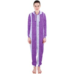 Stripes1 White Marble & Purple Denim Hooded Jumpsuit (ladies)