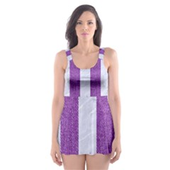 Stripes1 White Marble & Purple Denim Skater Dress Swimsuit