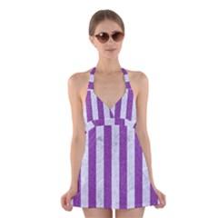 Stripes1 White Marble & Purple Denim Halter Dress Swimsuit