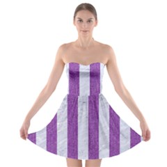 Stripes1 White Marble & Purple Denim Strapless Bra Top Dress
