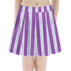 Stripes1 White Marble & Purple Denim Pleated Mini Skirt
