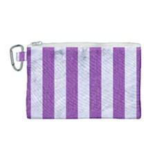 Stripes1 White Marble & Purple Denim Canvas Cosmetic Bag (medium)