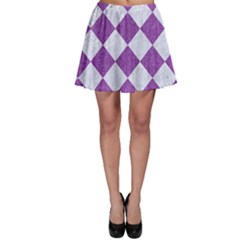 Square2 White Marble & Purple Denim Skater Skirt