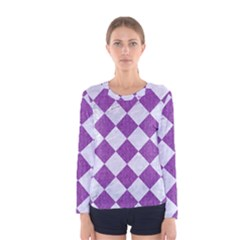 Square2 White Marble & Purple Denim Women s Long Sleeve Tee