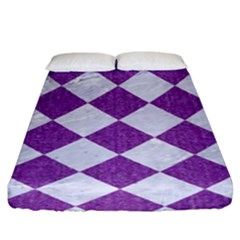 Square2 White Marble & Purple Denim Fitted Sheet (king Size)