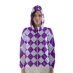 Square2 White Marble & Purple Denim Hooded Wind Breaker (women)