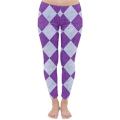 Square2 White Marble & Purple Denim Classic Winter Leggings