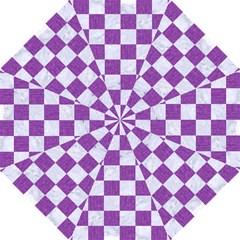 Square1 White Marble & Purple Denim Folding Umbrellas