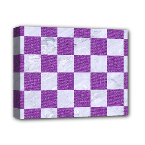Square1 White Marble & Purple Denim Deluxe Canvas 14  X 11