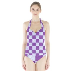 Square1 White Marble & Purple Denim Halter Swimsuit