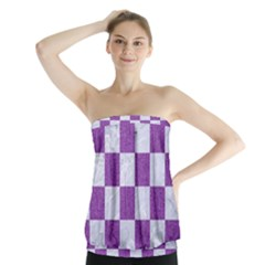 Square1 White Marble & Purple Denim Strapless Top
