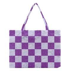 Square1 White Marble & Purple Denim Medium Tote Bag
