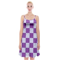 Square1 White Marble & Purple Denim Spaghetti Strap Velvet Dress